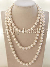 """AAA 56"""" 10mm beads round white south sea shell pearls necklace j13146"""