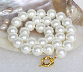 """AAA 18"""" 14mm white south sea shell pearls necklace 18KGP clasp j13148"""