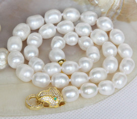 "17"" 11mm baroque rice oval white potato pearls necklace leopard clasp j13150"
