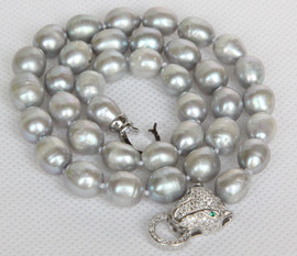 "7"" 11mm baroque rice oval gray potato pearls necklace leopard clasp j13152"