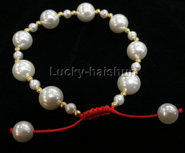 adjustable 10mm round white south sea shell pearls Bracelet j13165