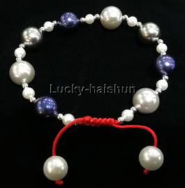 adjustable 10mm round navy blue white gray south sea shell pearls Bracelet j13166