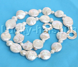 "Luster 17.5"" 15mm Baroque coin fastener white Pearl Necklace 925 silver clasp j13171"