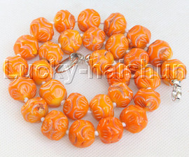 """20"""" 16mm natural round carved yellow coral necklace 18KGP clasp j13174"""