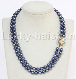"""AAA 17"""" 8mm 2row string navy blue south sea shell pearls necklace abalone clasp j13177"""