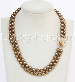 """AAA 17"""" 8mm 2row string coffee south sea shell pearls necklace abalone clasp j13178"""