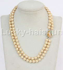 """AAA 17"""" 8mm 2row string champagne south sea shell pearls necklace abalone clasp j13179"""