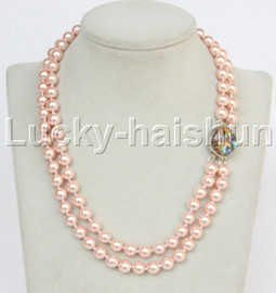 """AAA 17"""" 8mm 2row string pink south sea shell pearls necklace abalone clasp j13180"""