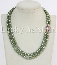"""AAA 17"""" 8mm 2row string green south sea shell pearls necklace abalone clasp j13181"""