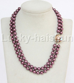 """AAA 17"""" 8mm 2row string wine red south sea shell pearls necklace abalone clasp j13182"""
