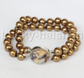 "AAA 8"" 2row string coffee south sea shell pearls Beaded bracelet abalone clasp j13184-1"