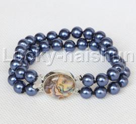 "AAA 8"" 2row string navy blue south sea shell pearls Beaded bracelet abalone clasp j13185-1"