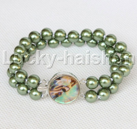 """AAA 8"""" 2row string green south sea shell pearls Beaded bracelet abalone clasp j13186-1"""