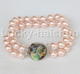 """AAA 8"""" 2row string pink south sea shell pearls Beaded bracelet abalone clasp j13187-1"""
