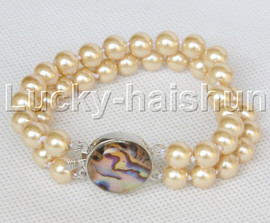 """AAA 8"""" 2row string champagne south sea shell pearls Beaded bracelet abalone clasp j13188-1"""