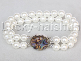 """AAA 8"""" 2row string white south sea shell pearls Beaded bracelet abalone clasp j13189-1"""