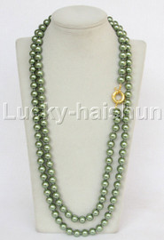 """AAA long 50"""" 10mm green south sea shell pearls necklace gold plated clasp j13190"""