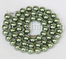 """AAA 18"""" 8mm green south sea shell pearls necklace 18KGP clasp j13191"""