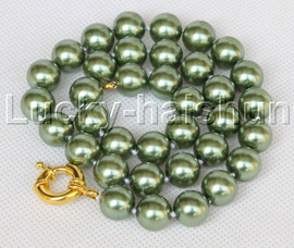"""AAA 18"""" 12mm green south sea shell pearls necklace gold plated clasp j13192"""