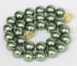 """AAA 18"""" 14mm green south sea shell pearls necklace magnet clasp j13194"""