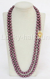 """AAA 50"""" 10mm wine red south sea shell pearls necklace gold plated clasp j13196"""