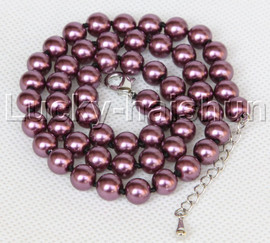 """AAA 18"""" 8mm wine red south sea shell pearls necklace 18GP clasp j13197"""