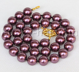 """AAA 18"""" 12mm wine red south sea shell pearls necklace gold plated clasp j13199"""