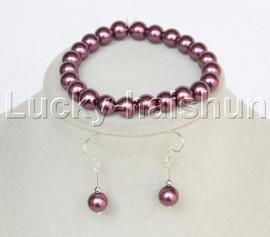"""AAAA 7"""" Bracelet round wine red south sea shell pearls Earrings Dangle j13201"""