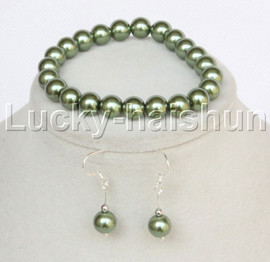 """AAAA 7"""" Bracelet round green south sea shell pearls Earrings Dangle j13202"""
