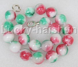 """AAA natural 18"""" 18mm round Multicolor jade necklace 925 silver clasp j13207"""
