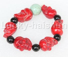 "7"" springy Baroque coral agate turquoise human skeleton Bracelet j13208"