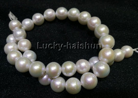 """NATURAL 18"""" 14MM ROUND WHITE SOUTH SEA PEARL NECKLACE 14KT GOLD j13223"""