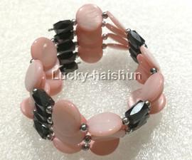 """long 24"""" 12mm coin pink shell magnet Bracelet necklace j13224-1"""