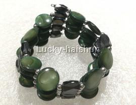 "long 24"" 12mm coin green shell magnet Bracelet necklace j13224-2"