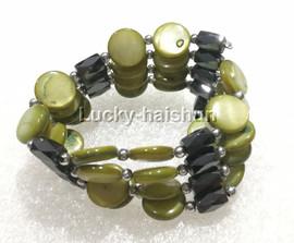 "long 24"" 12mm coin light green shell magnet Bracelet necklace j13224-3"