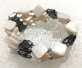 """long 24"""" 10*10mm coin rhombus white shell magnet Bracelet necklace j13224-4"""