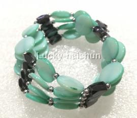 "long 24"" 12mm coin sky-blue shell magnet Bracelet necklace j13224-5"