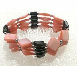 "long 24"" 10*10mm coin rhombus pink shell magnet Bracelet necklace j13224-7"