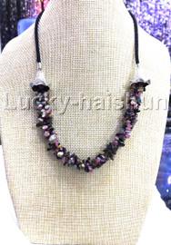"natural 18-20"" Baroque 4row string tourmaline necklace 18KGP clasp j13225"