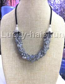 "natural 18-20"" Baroque 4row string labradorite necklace 18KGP clasp j13226"