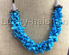 """natural 18-20"""" Baroque 4row string blue turquoise necklace 18KGP clasp j13227"""