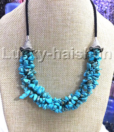 """natural 18-20"""" Baroque 4row string sky-blue turquoise necklace 18KGP clasp j13228"""