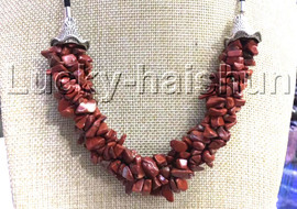 """natural 18-20"""" Baroque 4row string Gold Sand Stone necklace 18KGP clasp j13229"""