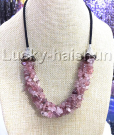 """natural 18-20"""" Baroque 4row string red Watermelon Crystal necklace 18KGP clasp j13231"""
