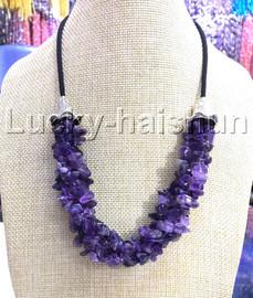 "natural 18-20"" Baroque 4row amethyst Quartz Crystal necklace 18KGP clasp j13232"