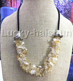 "natural 18-20"" Baroque 4row citrine Quartz Crystal necklace 18KGP clasp j13233"