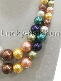 """Graduated 17"""" 2row Multicolor south sea shell pearls necklace 18KGP clasp j13235"""