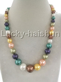 """Graduated 18"""" Multicolor south sea shell pearls necklace 18KGP clasp j13236"""