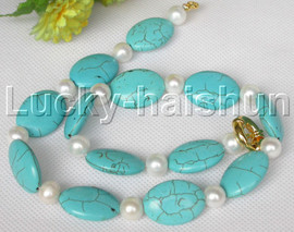 """Genuine 18"""" 10mm round white freshwater pearls blue turquoise necklace j13237"""