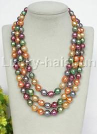 "AAA Baroque 17"" 3row 11mm Multicolor Reborn keshi pearls necklace 18KGP clasp j13239"